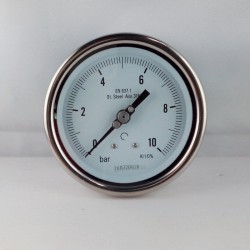 Stainless steel pressure gauge 10 Bar diameter dn 100mm back