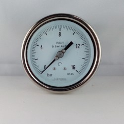 Stainless steel pressure gauge 16 Bar diameter dn 100mm back