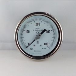 Manometro Inox 400 Bar diametro dn 100mm posteriore