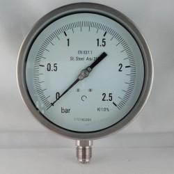 Stainless steel pressure gauge 2,5 Bar diameter dn 150mm bottom