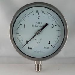 Stainless steel pressure gauge 4 Bar dn 150mm bottom or back flange