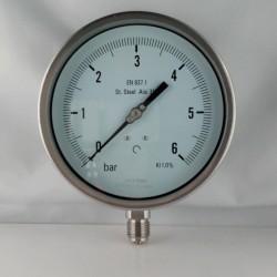 Stainless steel pressure gauge 6 Bar dn 150mm bottom or back flange
