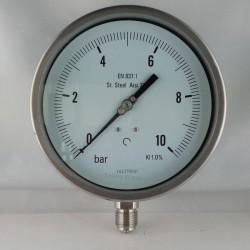 Stainless steel pressure gauge 10 Bar dn 150mm bottom or back flange