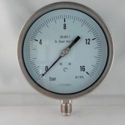 Stainless steel pressure gauge 16 Bar dn 150mm bottom or back flange