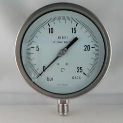 Stainless steel pressure gauge 25 Bar dn 150mm bottom or back flange