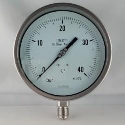 Stainless steel pressure gauge 40 Bar dn 150mm bottom or back flange