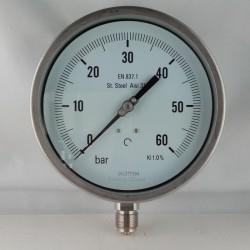 Stainless steel pressure gauge 60 Bar dn 150mm bottom or back flange