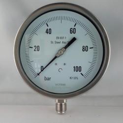 Stainless steel pressure gauge 100 Bar dn 150mm bottom or back flange