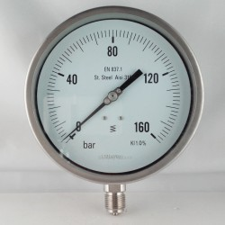 Stainless steel pressure gauge 160 Bar dn 150mm bottom or back flange