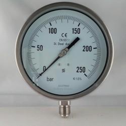 Stainless steel pressure gauge 250 Bar dn 150mm bottom or back flange