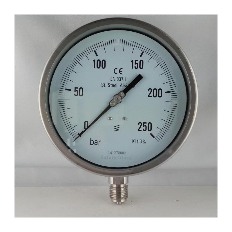 Stainless Steel Pressure Gauge 250 Bar Dn 150mm Bottom Or