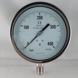 Manometro Inox 400 Bar dn 150mm radiale o flangia parete