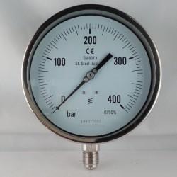Stainless steel pressure gauge 400 Bar dn 150mm bottom or back flange