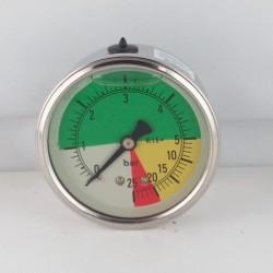 Glycerine filled ISOMETRIC pressure gauge colored dials 25 Bar dn 63mm back