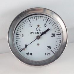 Capsule pressure gauge 25 mBar diameter dn 63mm back