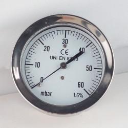 Capsule pressure gauge 60 mBar diameter dn 63mm back