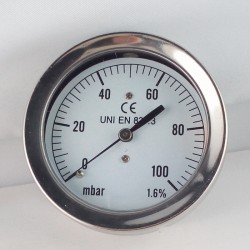 Capsule pressure gauge 100 mBar diameter dn 63mm back