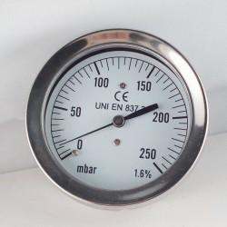 Capsule pressure gauge 250 mBar diameter dn 63mm back