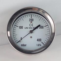 Capsule pressure gauge 400 mBar diameter dn 63mm back