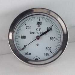 Capsule pressure gauge 600 mBar diameter dn 63mm back