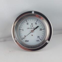 Pressure gauge 25 mBar diameter dn 63mm back