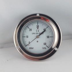 Pressure gauge 60 mBar diameter dn 63mm back
