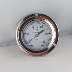 Manometro 100 mBar diametro dn 63mm flangia