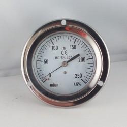 Pressure gauge 250 mBar diameter dn 63mm back