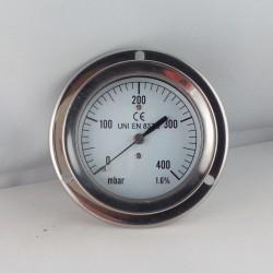 Manometro 400 mBar diametro dn 63mm flangia
