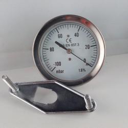 Vuotometro -100 mBar diametro dn 63mm staffa