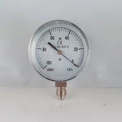 Vuotometro -100 mBar diametro dn 63mm radiale verticale