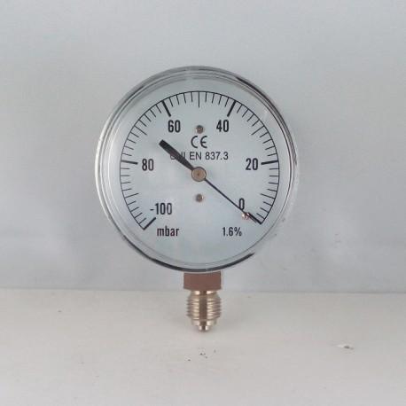 Capsule pressure gauge -100 mBar diameter dn 63mm bottom