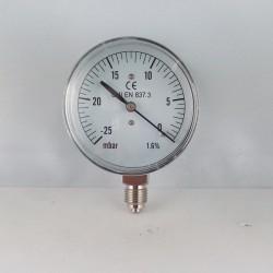 Capsule pressure gauge -25 mBar diameter dn 63mm bottom