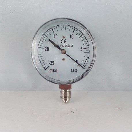 Capsule pressure gauge -25 mBar diameter dn 63mm bottom