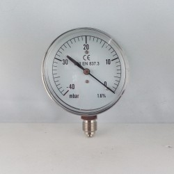 Capsule pressure gauge -40 mBar diameter dn 63mm bottom