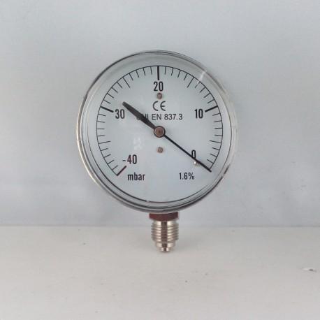 Capsule pressure gauge -40 mBar diameter dn 63mm bottom