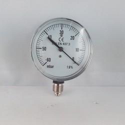 Capsule pressure gauge -60 mBar diameter dn 63mm bottom
