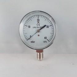 Manometro 40 mBar diametro dn 63mm radiale verticale