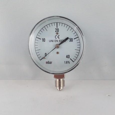 Capsule pressure gauge 40 mBar diameter dn 63mm bottom