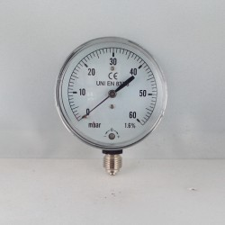 Capsule pressure gauge 60 mBar diameter dn 63mm bottom