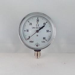 Manometro 60 mBar diametro dn 63mm radiale verticale