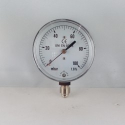 Manometro 100 mBar diametro dn 63mm radiale verticale