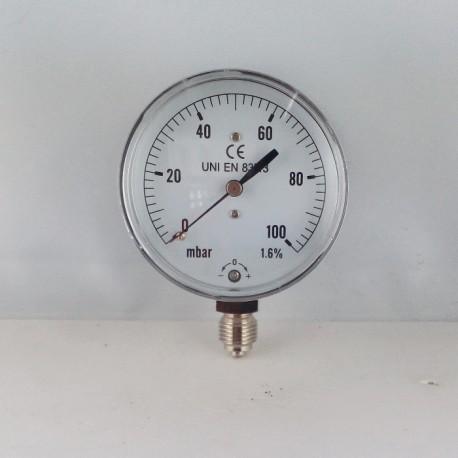 Capsule pressure gauge 100 mBar diameter dn 63mm bottom
