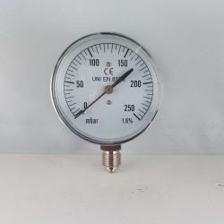 Capsule pressure gauge 250 mBar diameter dn 63mm bottom