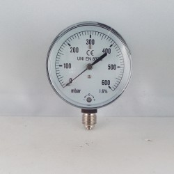 Capsule pressure gauge 600 mBar diameter dn 63mm bottom