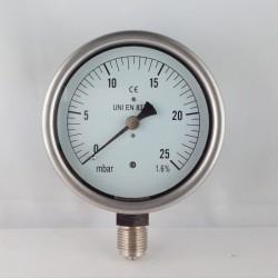 Manometro 25 mBar diametro dn 100mm radiale