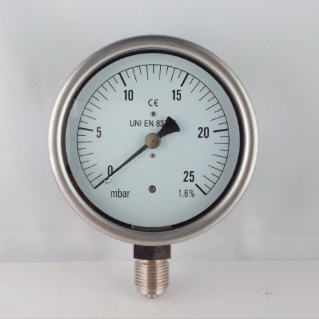 Capsule pressure gauge 25 mBar diameter dn 100mm bottom