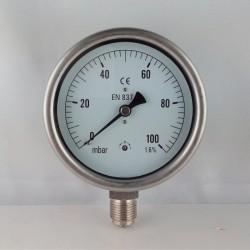Manometro 100 mBar diametro dn 100mm radiale