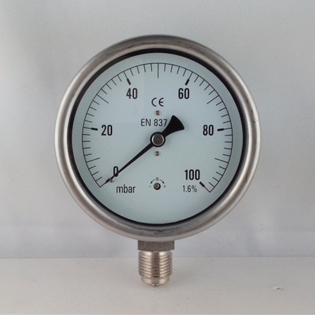 Capsule pressure gauge 100 mBar diameter dn 100mm bottom