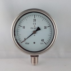 Capsule pressure gauge 40 mBar diameter dn 100mm bottom
